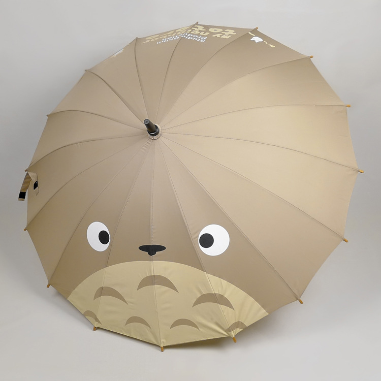 Totoro Big Face Windbreak Straight Umbrellas