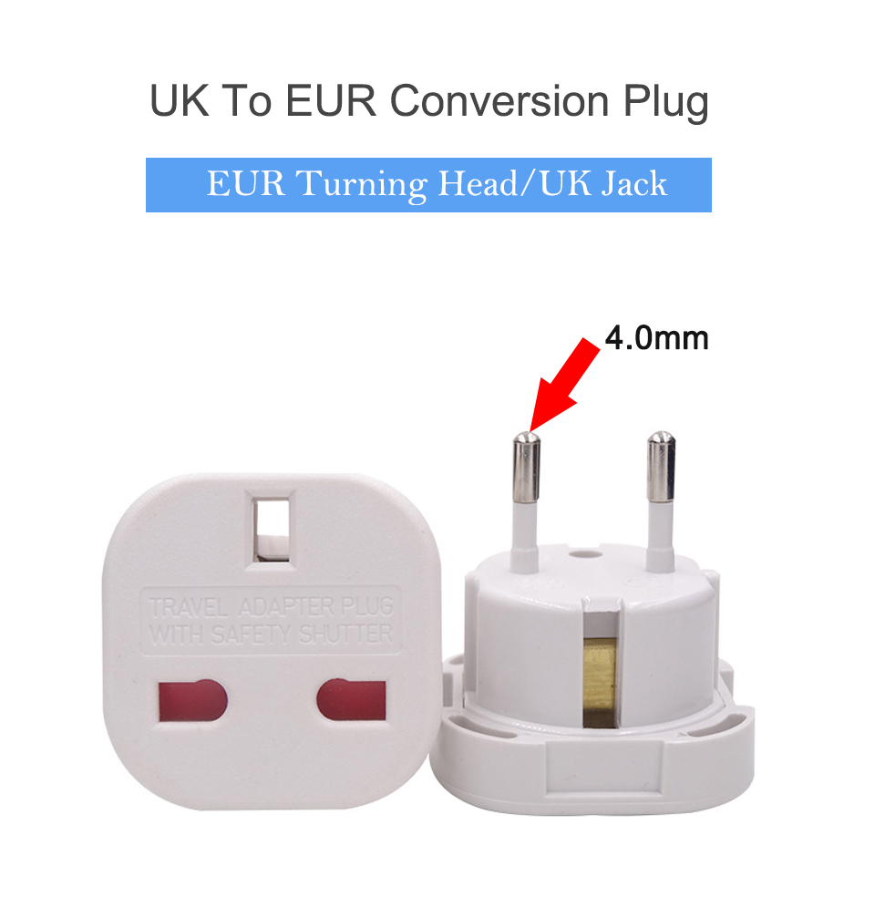 UK to European Euro EU AC Travel Charger Adapter Plug Outlet Converter Adapter power conversion plug Universal mobile phone (2)