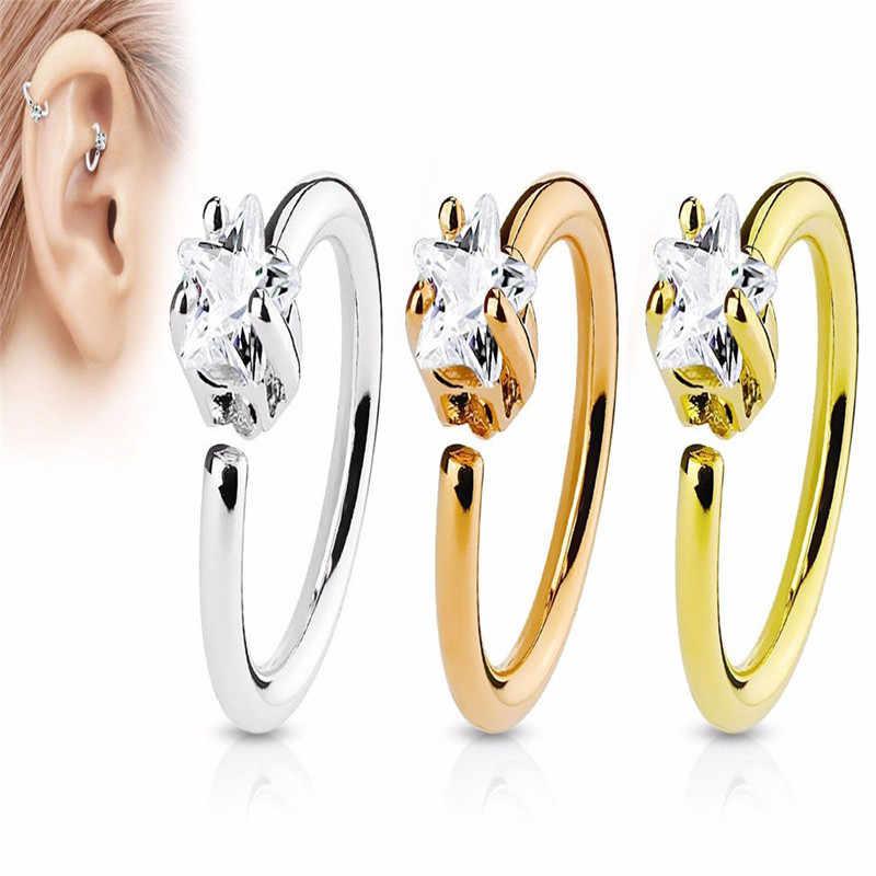 TTLIFE модное Кристальное носовое кольцо Винтажное кольцо из нержавеющей стали со стразами кольцо в нос серьги для женщин Femme ювелирные изделия Bijoux
