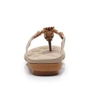 Image 4 - BEYARNE Schnelle lieferung Frauen sandalen 2018 weiche PU leder Strass sandalen frauen Sommer mode flip flops sandalen frauen schuhe