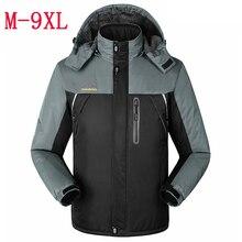 Новые зимние большие ярдов Плюс толстый бархат мужская куртка пальто мужская Ветер и водонепроницаемый повседневная теплая куртка С Капюшоном размер L-6XL7XL8XL9XL