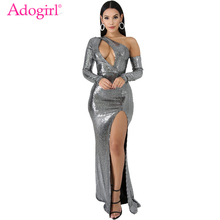 Adogirl Hollow Out One Shoulder Evening Party Dresses Elegant Women Sexy Long Sleeve High Slit Bodycon Long Night Club Dress novelty one shoulder high slit hollow out dress for women