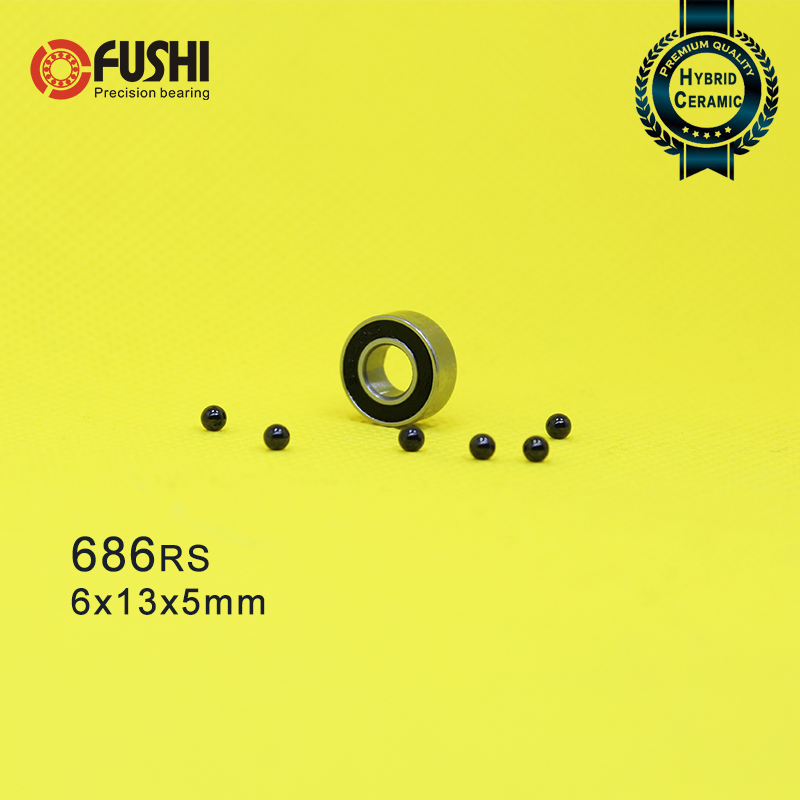686 Hybrid Ceramic Bearing 6*13*5 Mm ABEC-1 ( 1 PC) Industry Motor Spindle 686HC Hybrids Si3N4 Ball Bearings 3NC 686RS