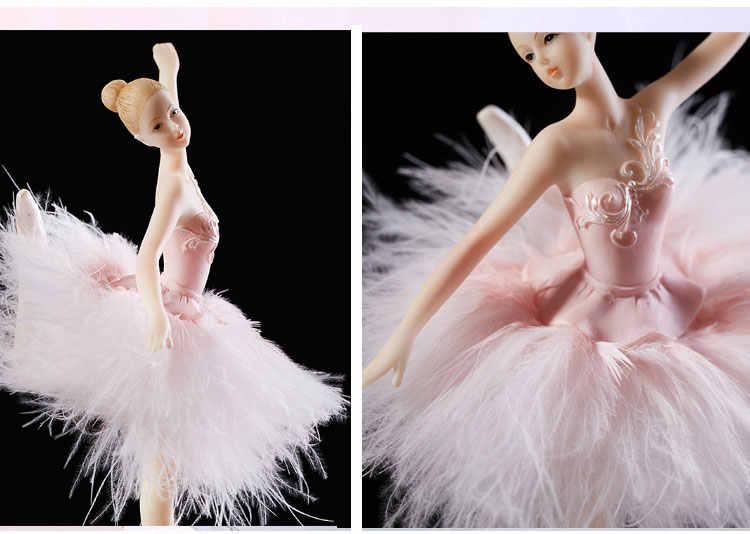 Элегантный и изысканный Балерина Танцевальная музыкальная карусель коробка 2 цвета Barbye перо Музыкальная Коробка Diy подарок для свадьбы дня рождения для девочек C