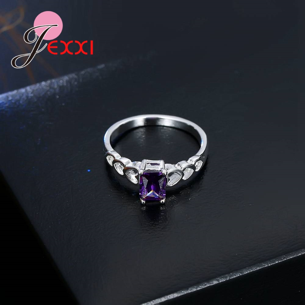 JEXXI Rectangle Purple Crystal Rings Fashion Women Sterling Silver 925 Jewelry Hollow Out Lady Heart Wedding Party Finger Ring