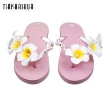 цена на Sandal Sandals Women 2018 Handmade TourismFlip Flops Sapato Feminino Low Heel Slippers Sandalias Plataforma Chanclas SUM07