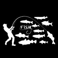 decals rear trunk emblem 16.7*9.5cm Fisherman Fishing Fish Car Stickers Emblem Decals Auto Accessories Car Body Rear Trunk Window Decoration (2)