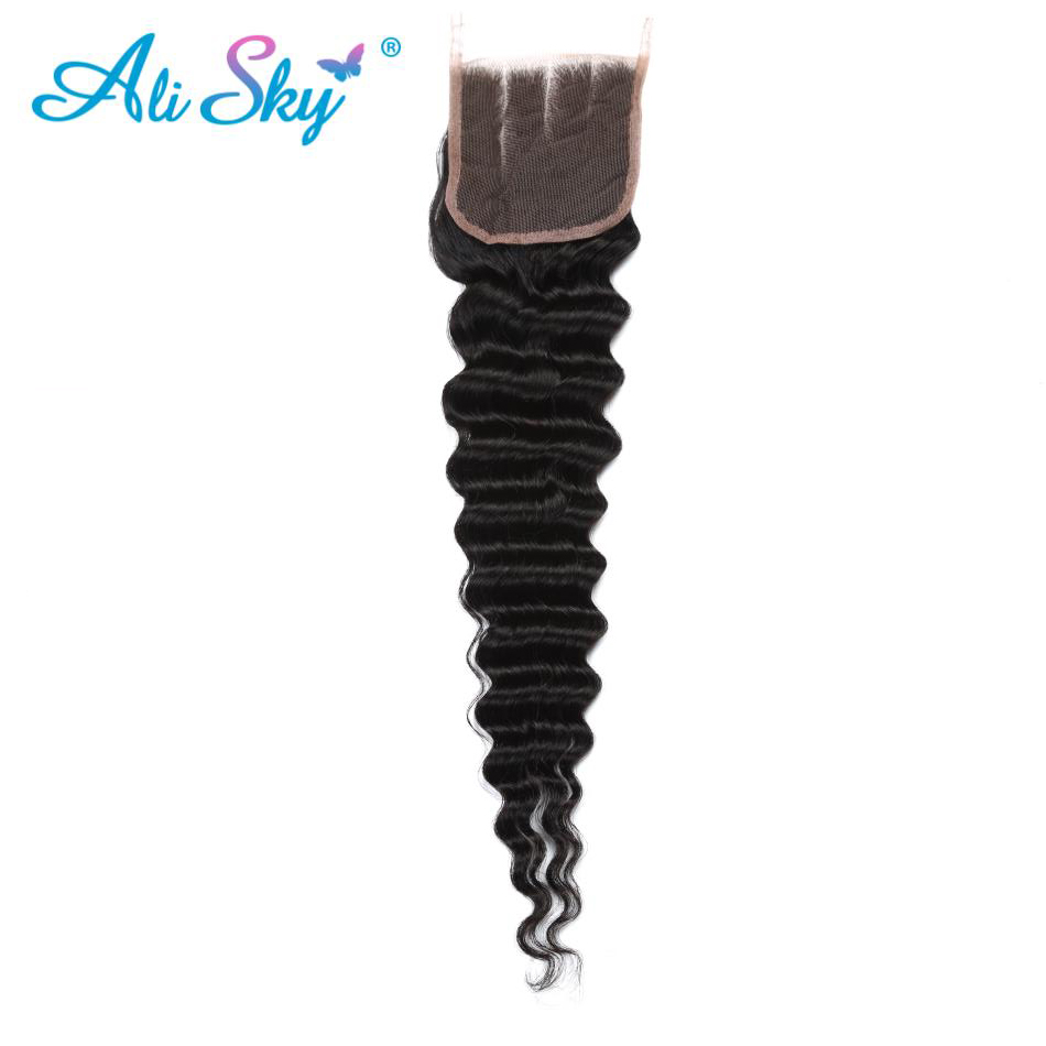 Hair Extensions & Wigs Qualified 4x4 Malaysian Deep Wave Lace Closure 8-22 Inch Free/middle/three Part With Baby Hair 120% Density Non Remy Ali Sky Frontal Black