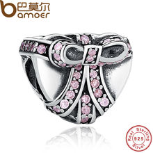 BAMOER Classic 925 Sterling Silver Pink Knot Crystals Charm Fit Original Beads Bracelet Jewelry Engagement PAS248