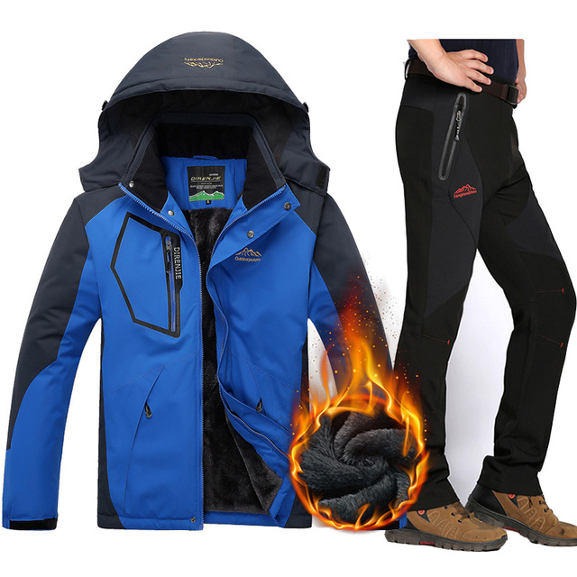 6d8a56b97c Ski Jacket Men Waterproof Fleece Snow Jacket Pants Thermal Ski suits For Men  Outdoor Mountain Snowboard Clothes Set Plus Size