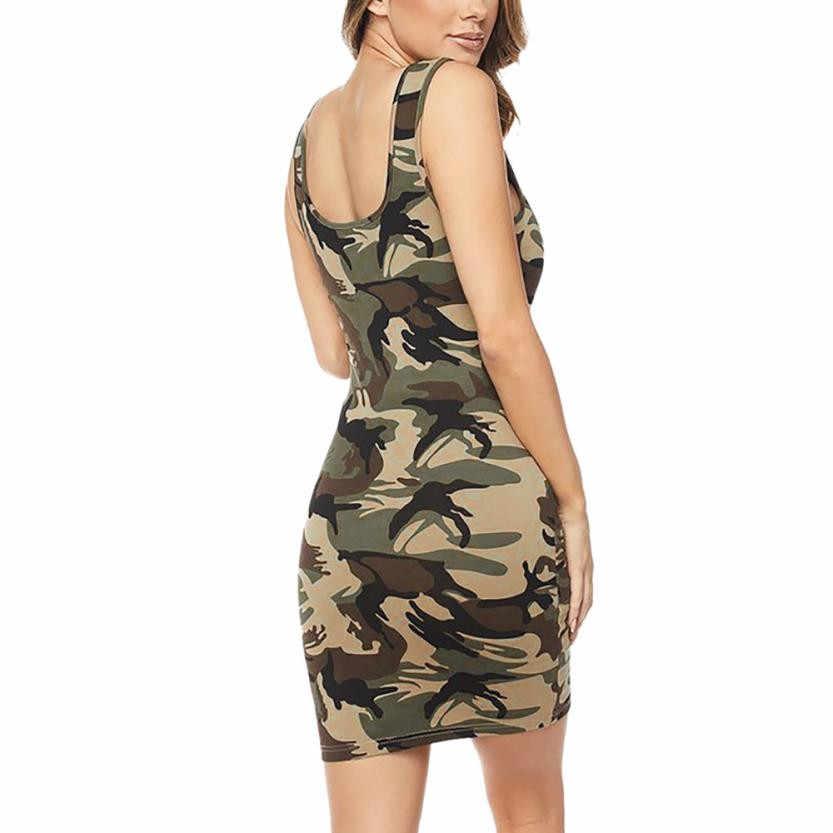 O-cou Camouflage sans manches Mini robe femmes imprimer fesse moulante tenue de club robes dos nu Slim robe d'été courte Dresses5.2 #24