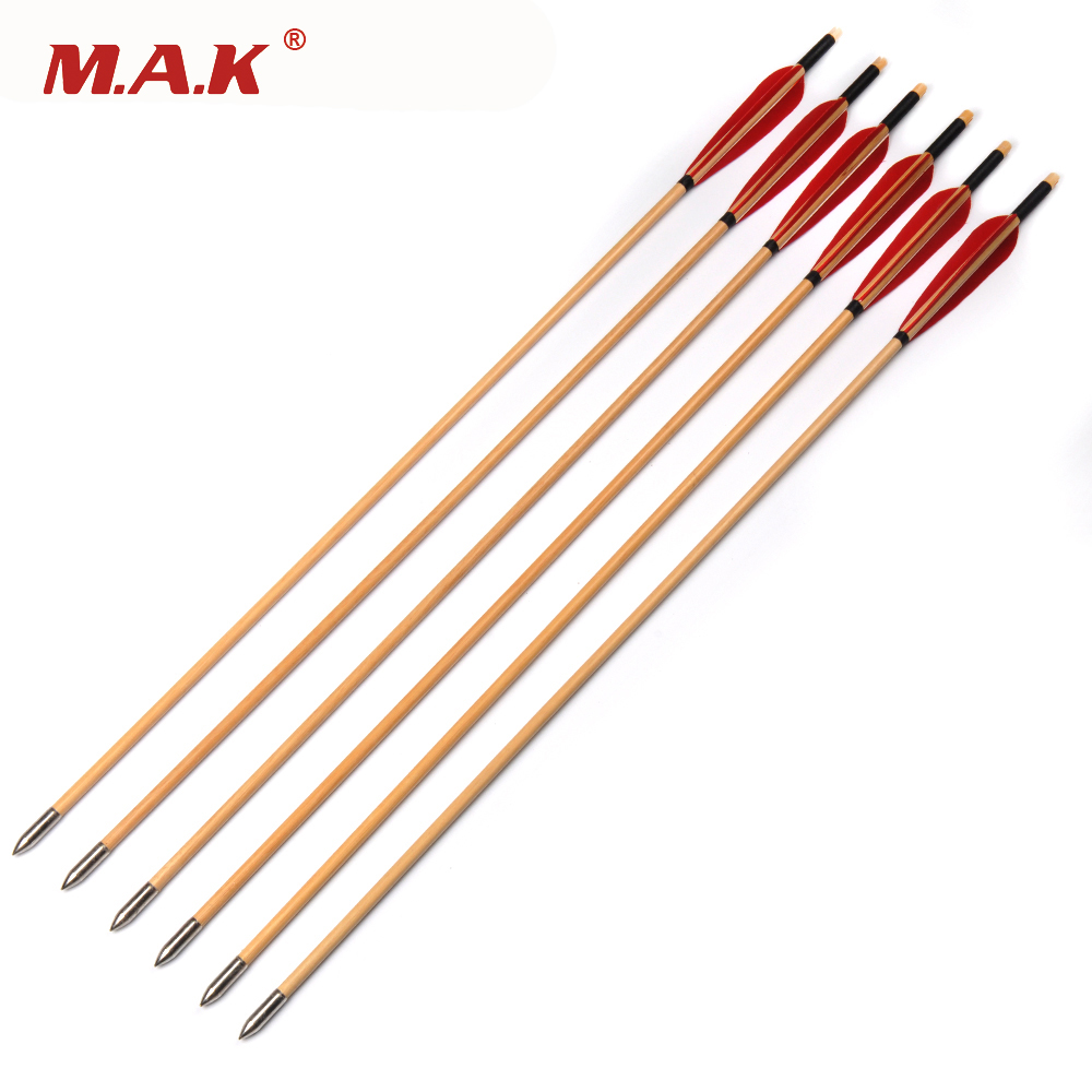 6/12/24pcs 30 inch Wooden Arrow with White Pine Arrow Shafts and Red Turkey Feather for Bow Archery Shooting suunto arrow 6