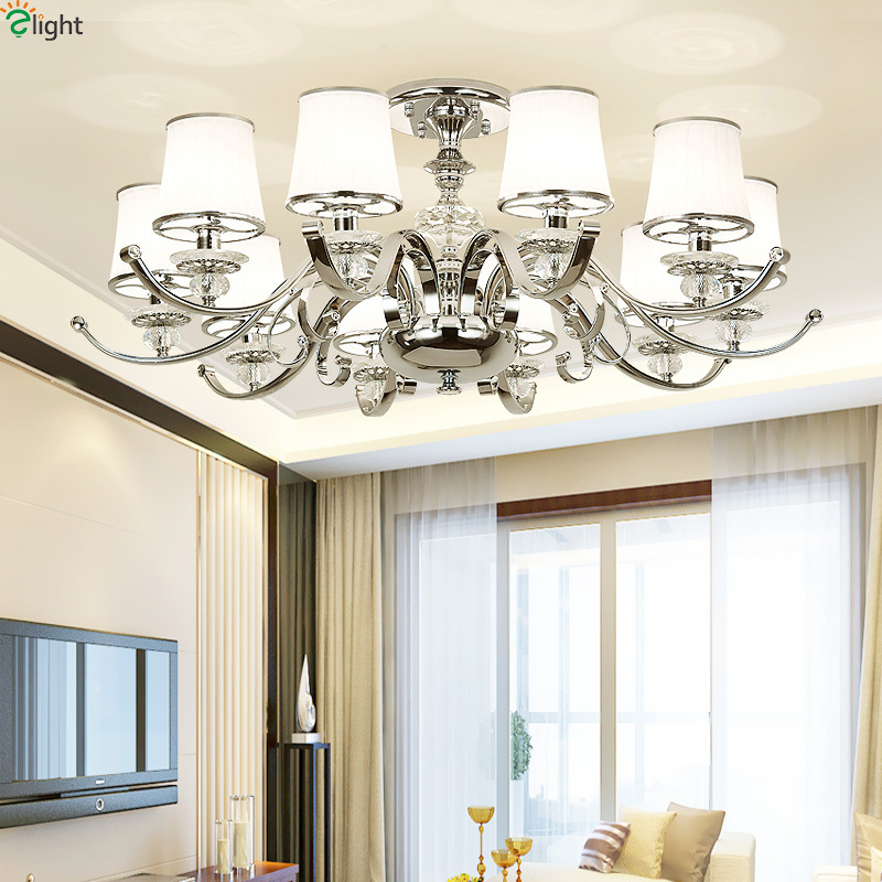 цены Modern Lustre Crystal Led Ceiling Lights Chrome Metal Living Room Led Ceiling Lamp Fixtures Dining Room Ceiling Light Lamparas