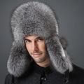Sombreros de invierno con orejeras Hombres Nieve caliente al aire libre de piel de visón gorra de cuero de piel de zorro de mapache Sombrero de algodón para hombres de mediana edad el envío libre