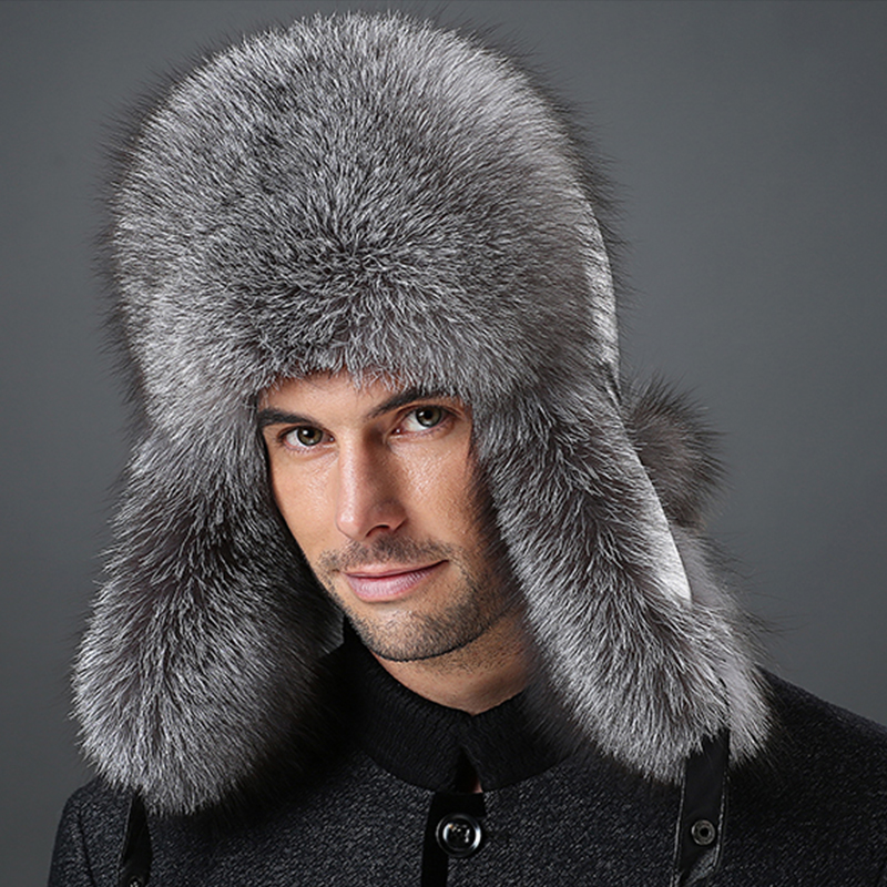 Winter hats with ear flaps Men Snow warm mink fur outdoors leather cap fox raccoon cotton