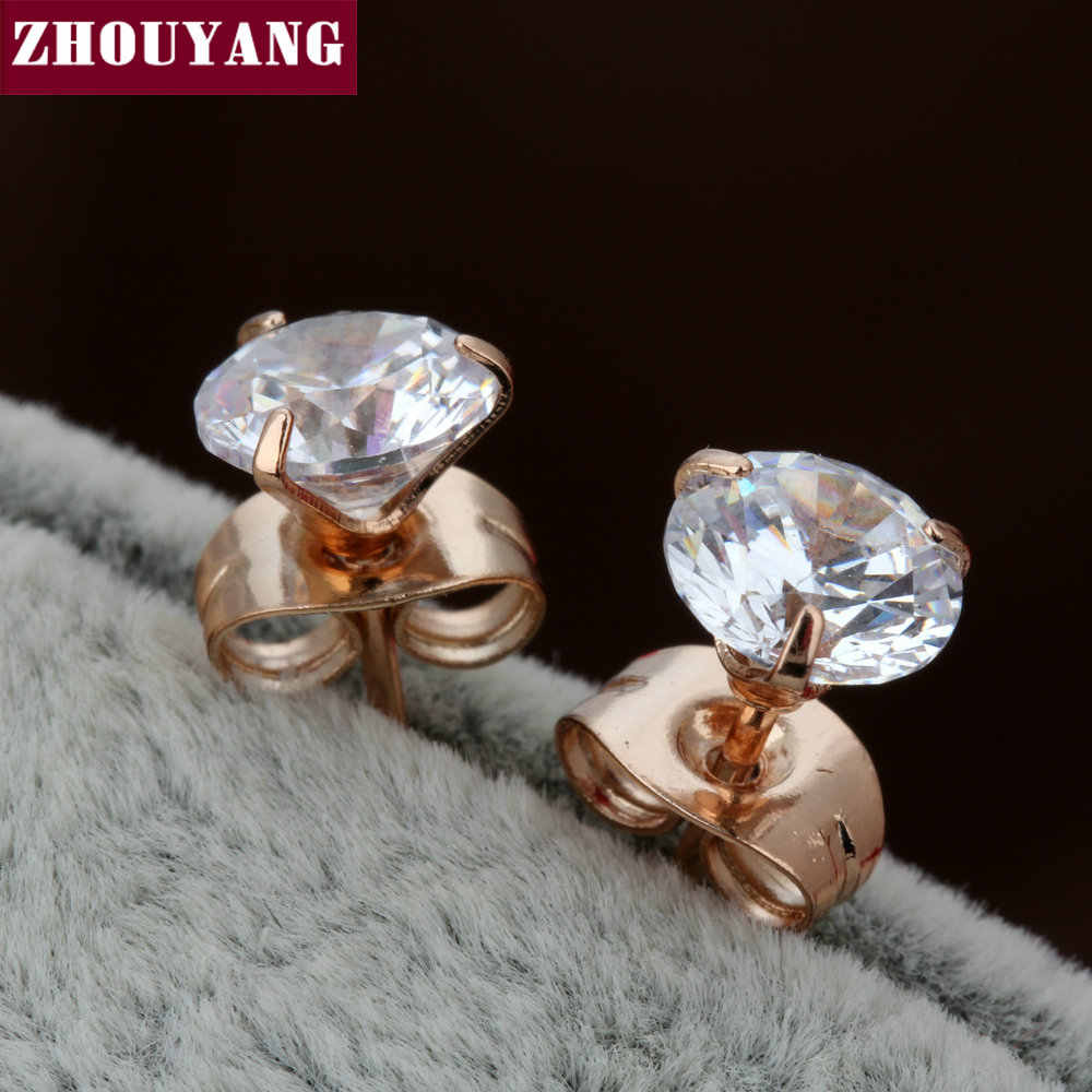 Top Quality ZYE775 Simple Style Three Claws Cubic Zirconia Rose Gold Color Stud Earrings Jewelry Crystal