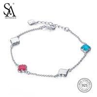SA SILVERAGE 2017 New Women Blue Red Opal Bohemia Bracelet Real 925 Sterling Silver Pendants Fine Jewelry Lucky Clover Bracelets