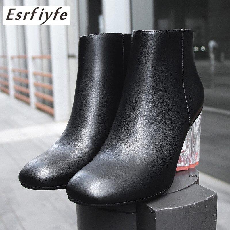 Mujeres Crystal Botines Tacones Zapatos Lrather Negro Cremallera Genuino Moda Cuadrados Cuadrado 2019 De Botas Tacón Mujer Esrfiyfe Alto BwxYIXq