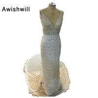 Custom Made Romantic Beach Wedding Gowns Spaghetti Strap Open Back Chapel Train Robe De Mariage Lace