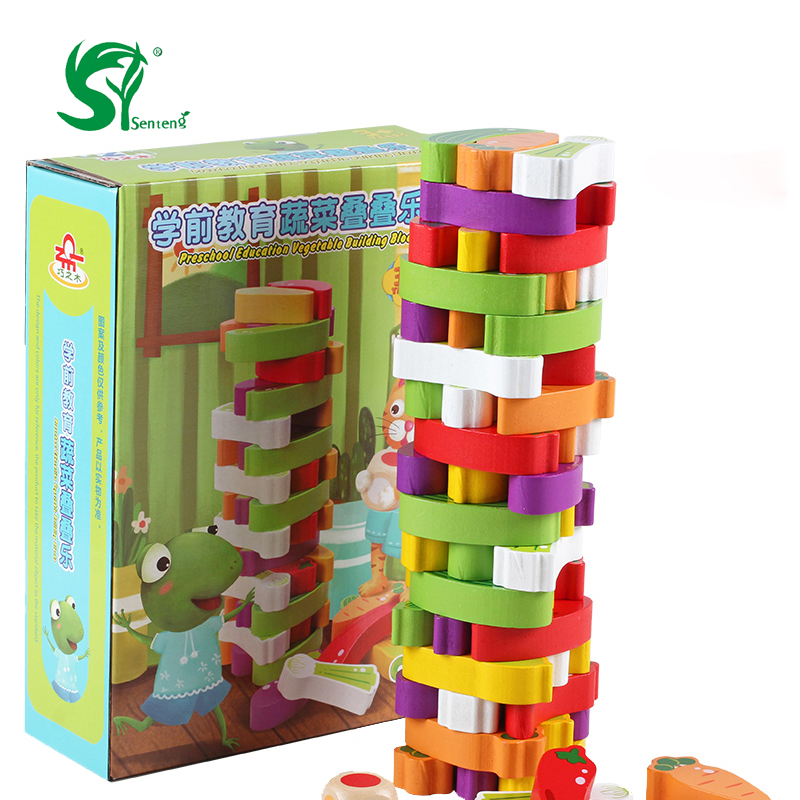 Advanced Wooden Tower digital Blocks Toy vegetables Domino Stacker Extraction  Montessori Educational Jenga family games пуф wooden круглый белый