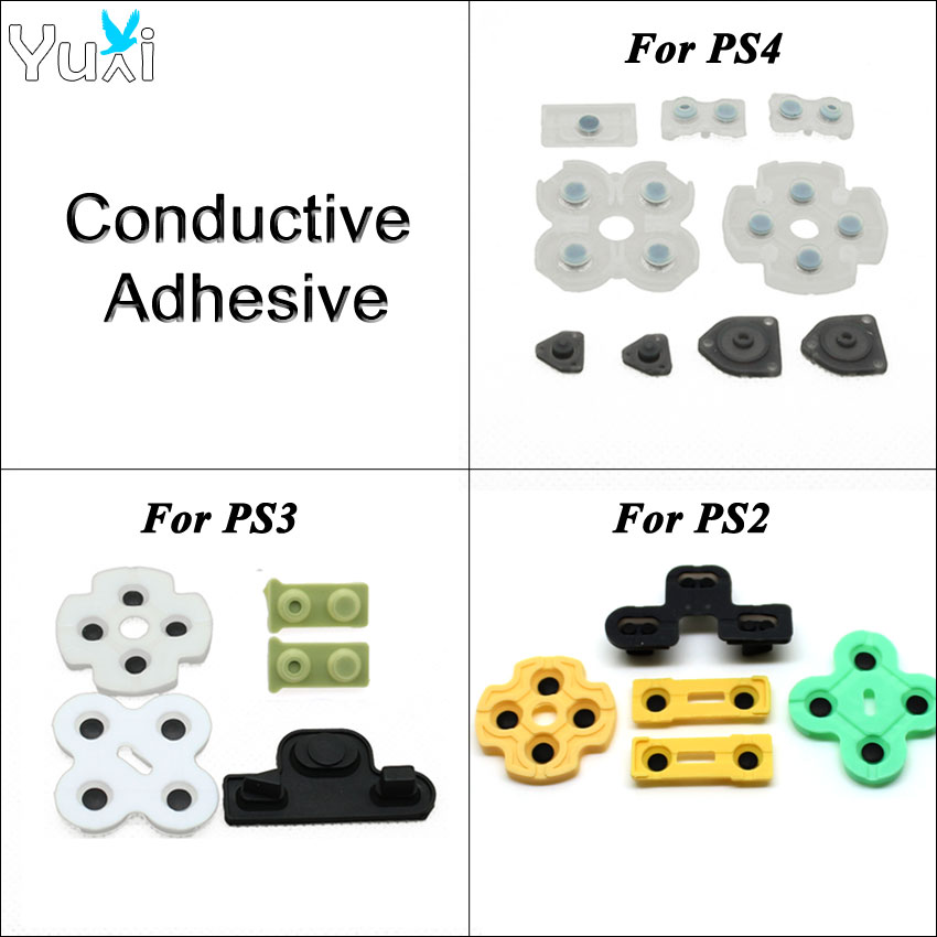 YuXi Rubber Conductive Adhesive Pad Game Controller Gamepad Replacement Parts Accessories For PS2 PS3 PS4 Pro Slim Controller