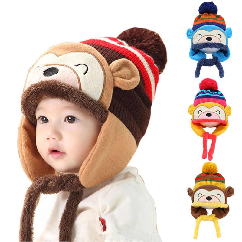 ... Детские зимние шапки для мальчиков и девочек Kawaii monkey толстые  вязаные шапки с амбушюрами теплые мягкие ... 6d2e3a30ca4e5