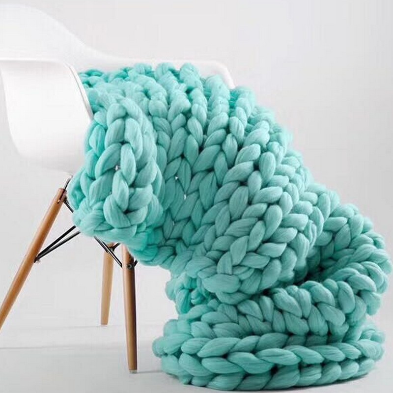 цены на 120CM Crochet Thick Line Giant Yarn Knitting Blankets Bulky Knitting Throw for Adults Bed/Sofa Cover Hand Chunky Knitted Blanket