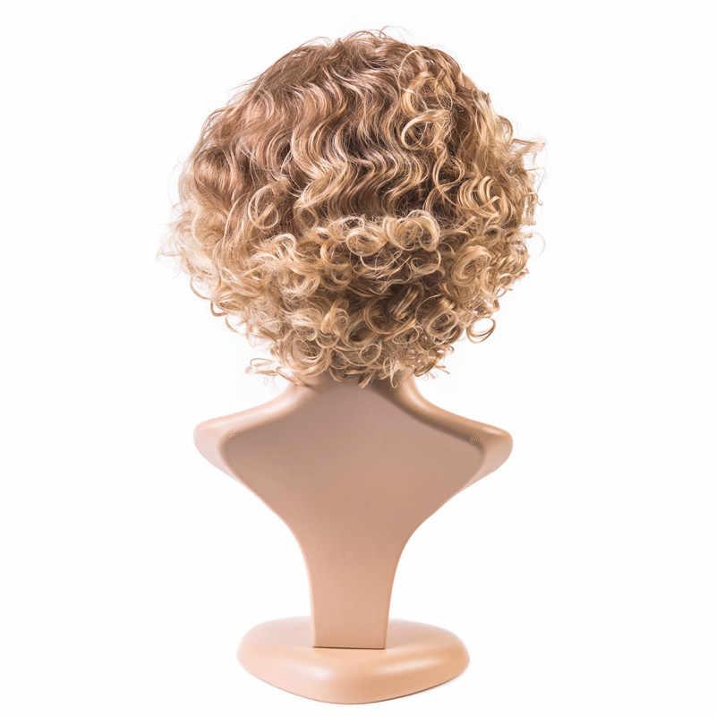 GRES Bouncy kręcone wysokiej temperatury włókna blond brązowy Gradient kobiety maszyna wykonane krótkie peruki dla pani włosy syntetyczne