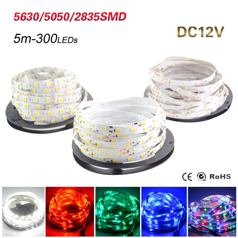 5 M IP20 SMD3528 5050 5630 300 leds RGB Tira Conduzida Fita Fita Faixa de LED Luz de Teto Branco Fresco Quente balcão de Bar Luz Do Armário