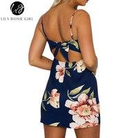 Lily Rosie Girl Sleeveless Mini Femme Dresses Empire Strapless Summer Boho Print Sheath Backless With Bow