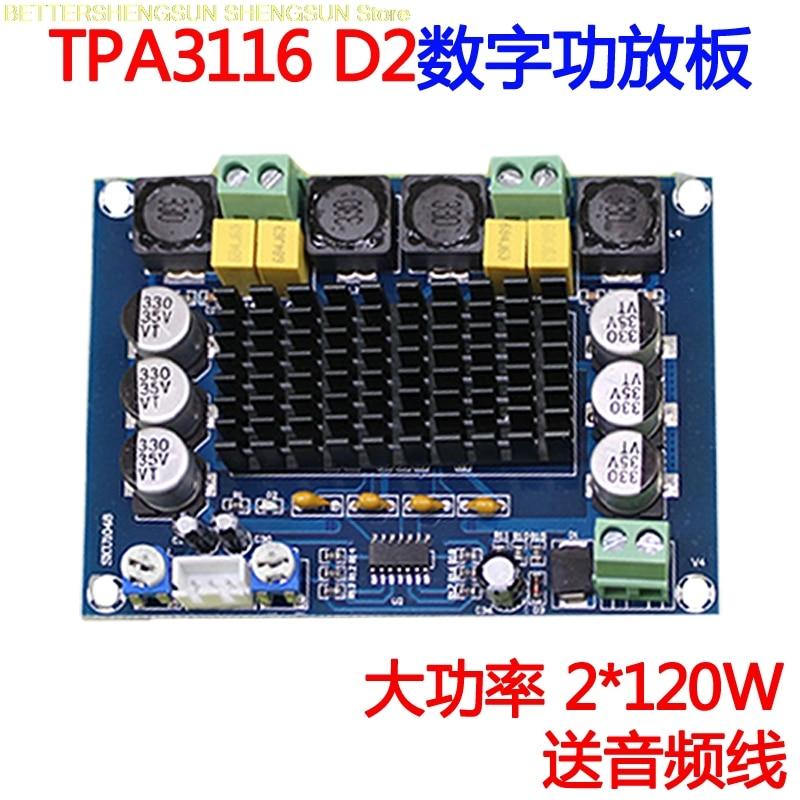 NEW XH-M543 high power digital power amplifier board TPA3116D2 audio amplifier module Dual channel 2*120WNEW XH-M543 high power digital power amplifier board TPA3116D2 audio amplifier module Dual channel 2*120W