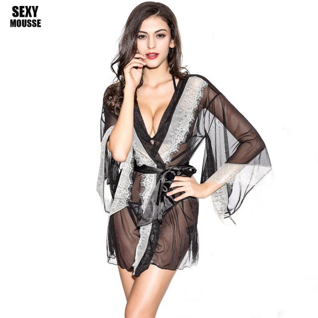 Sexy Camisón de Pijama de Manga Larga Sola Tentación Extreme Delgado Camisón Bordado Bata Camisón