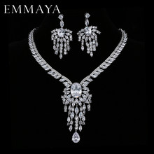 EMMAYA Christmas Gift Luxury Silver-color CZ Crystal Necklace Drop Earrings Pendant Jewelry Wedding Jewelry Sets Free shipping(China)