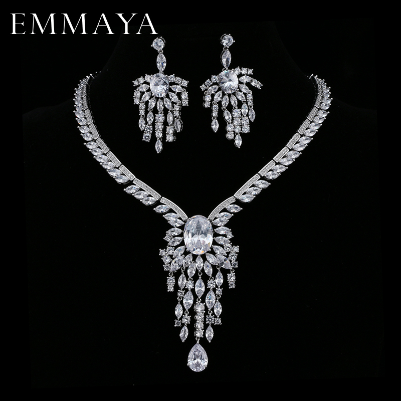 EMMAYA Christmas Gift Luxury Silver-color CZ Crystal Necklace Drop Earrings Pendant Jewelry Wedding Jewelry Sets Free shipping