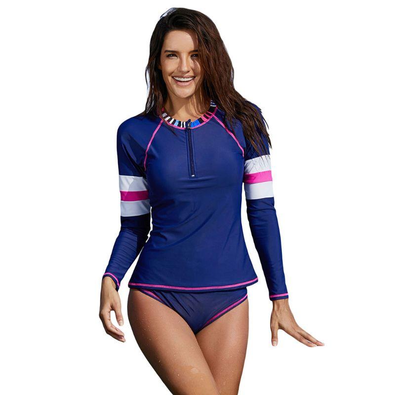 56ce156e322 2019 Womens Plus Size Two Piece Long Sleeve Rash Guard UV Protection ...