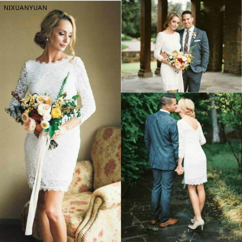 2020 Long Sleeve Short Wedding Dresses Lace Elegant Sheath Romantic Bridal Gowns Custom Made Wedding Guest Dress