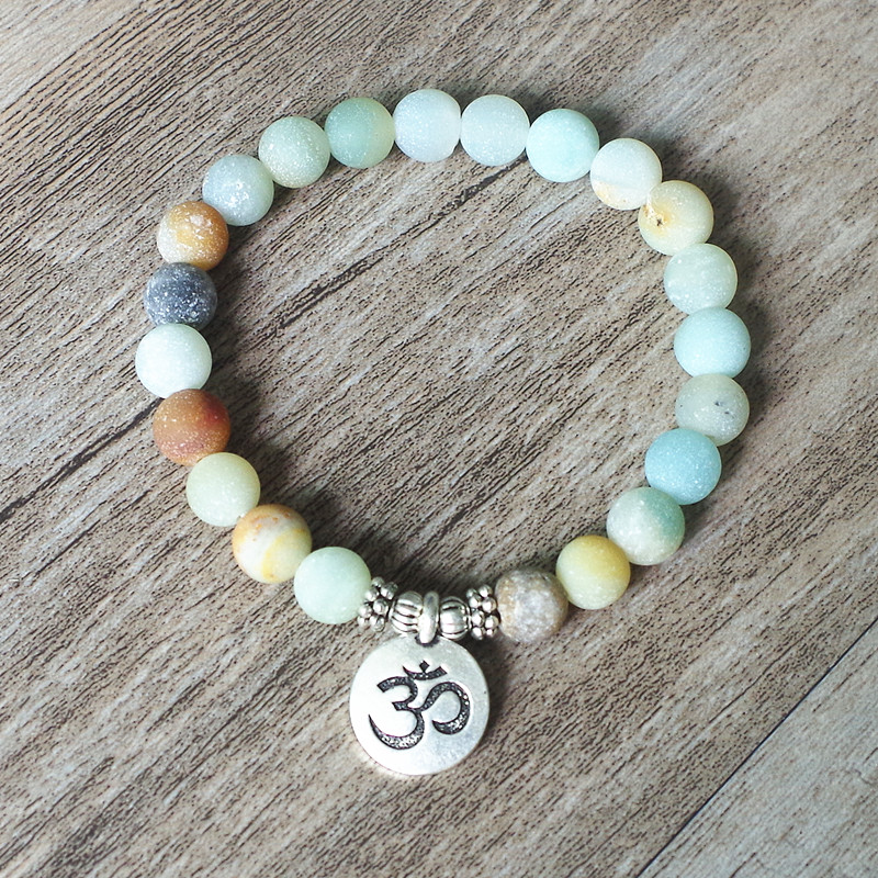 Matte Amazonite Stone Strand Bracelet Yoga Chakra Mala Bracelet OM Lotus Women Men Beaded Charm Bracelet Handmade Jewelry 1