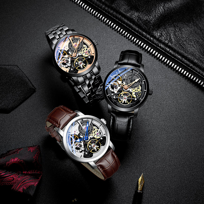 Image 5 - AILANG  Brand Men Automatic Watch Luxury Skeleton Mechanical Watches Men's Black Genuine Leather Clock Relogios Masculino 2019-in Mechanical Watches from Watches