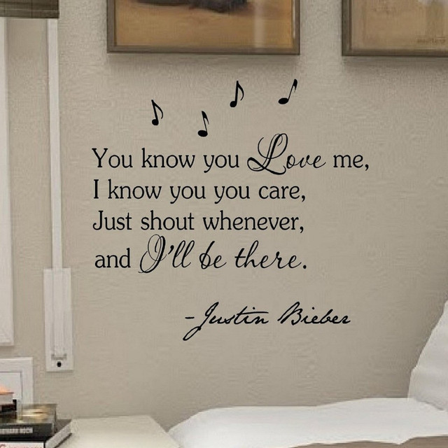 You know you love me justin bieber vinyl wall art inspirational quotes and saying home decor