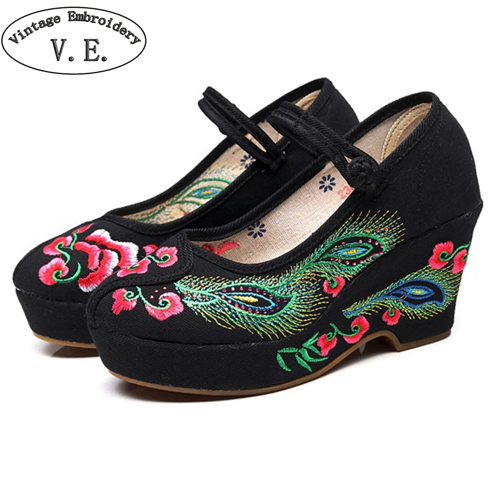 Flowers Embroidered Women Cotton Fabric High Heels Ankle Strap Ladies Casual Comfort Canvas Pump Shoes Chinese Wedding Shoes flowers branch embroidered chinoiserie fabric corset belt