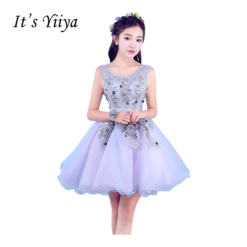 It's Yiiya New Purple Sleeveless Lace Ball Gown   Cocktail     Dresses   Flower Princess Mini Custom Made Tulle Party Formal DressT-216