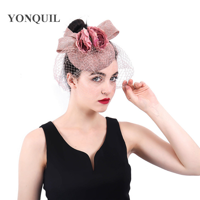 Peach headwear bow and flower hat fascinator wedding ladies days race Ascot  veils hats bridal married headdress fedora chapeau f0e109748c4