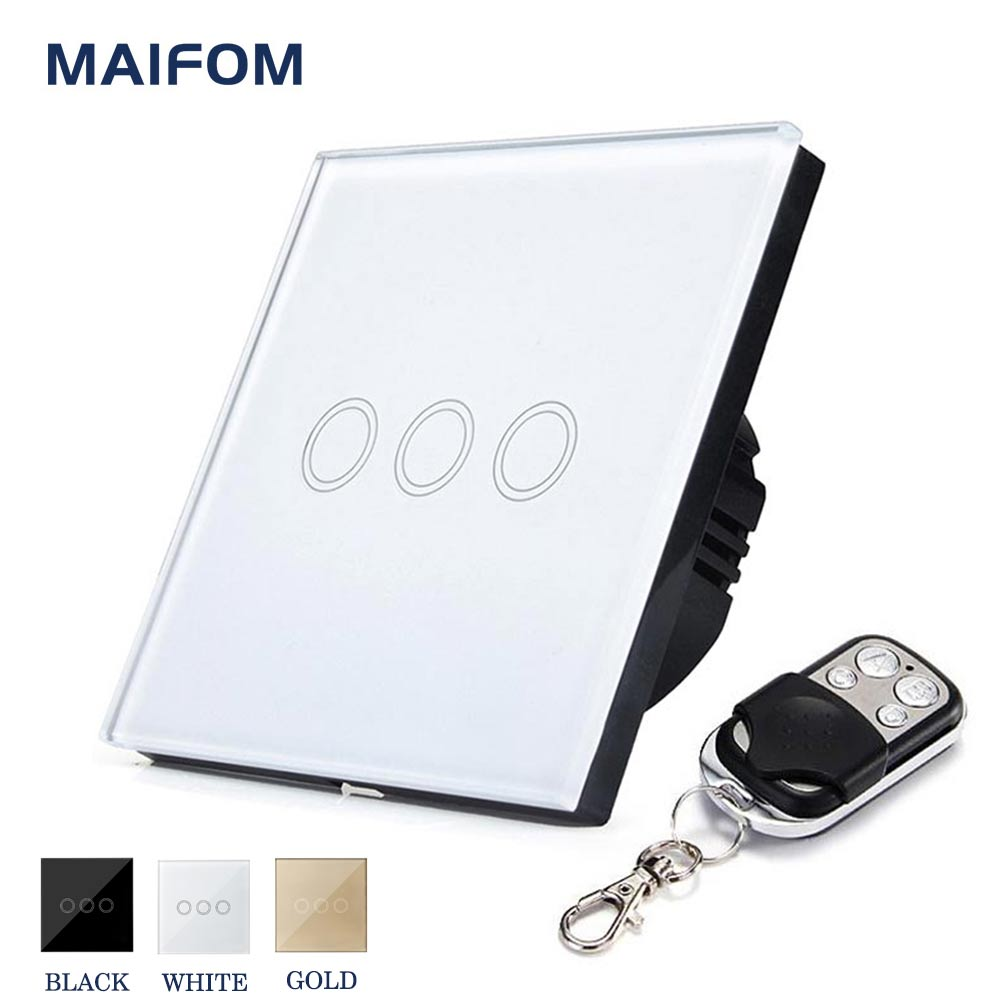 EU/UK RF433 Touch Switch Remote Control MAIFOM 3 Gang 1 Way Wall Light Switch With Crystal Glass Touch Panel Waterproof funry eu uk 2 gang 1 way wireless light touch remote control pannel waterproof bouton poussoir crystal glass panel smart switch