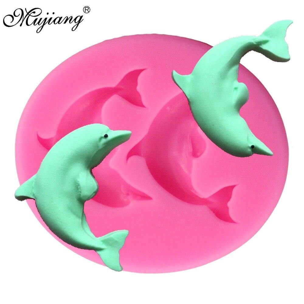 Mujiang delfín molde de silicona fondant 3d jabón moldes de dulces de chocolate