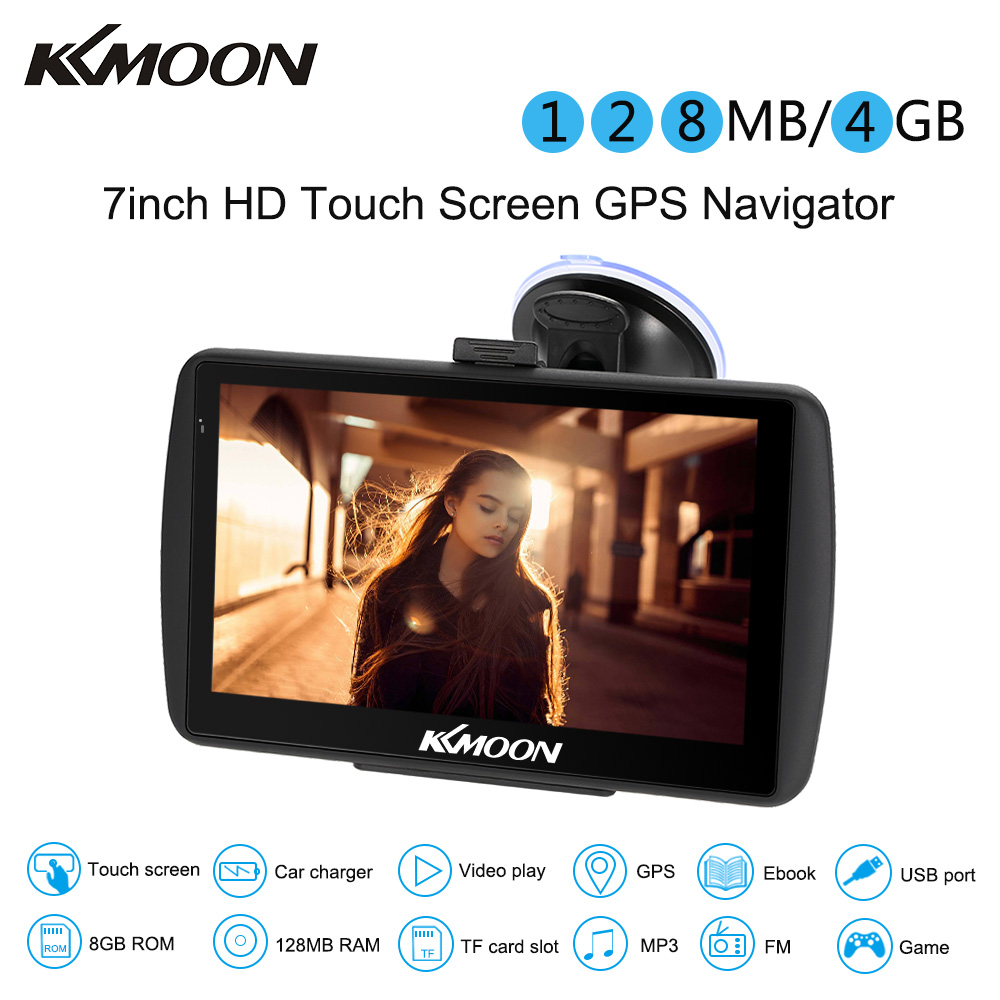 7inch HD Touch Screen Car Portable GPS Navigator 128MB 4GB MP3 Video Player Car Entertainment System with Free Map FM Ebook Game 7 truck car gps navigator with free maps car charger music mp3 mp4 player support game e book touch screen car gps
