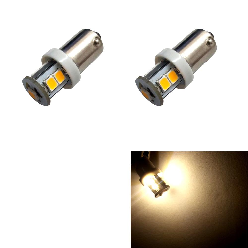 2pcs BA9S T4W H6W 363 Warm White 7 LED 2835 SMD Car Wedge Side Light Lamp Bulb 12V parking 363 6
