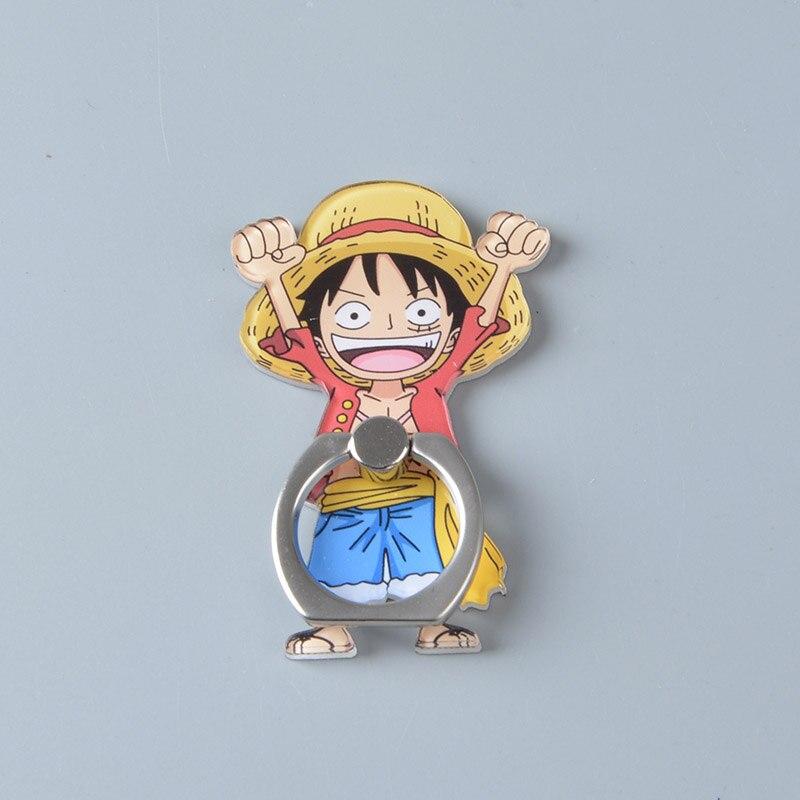 Anime One Piece Monkey D Luffy Straw Hat Sanji Model Mobile Phone Ring Holder Finger Holder Support Desk Stand for Cell phone belt