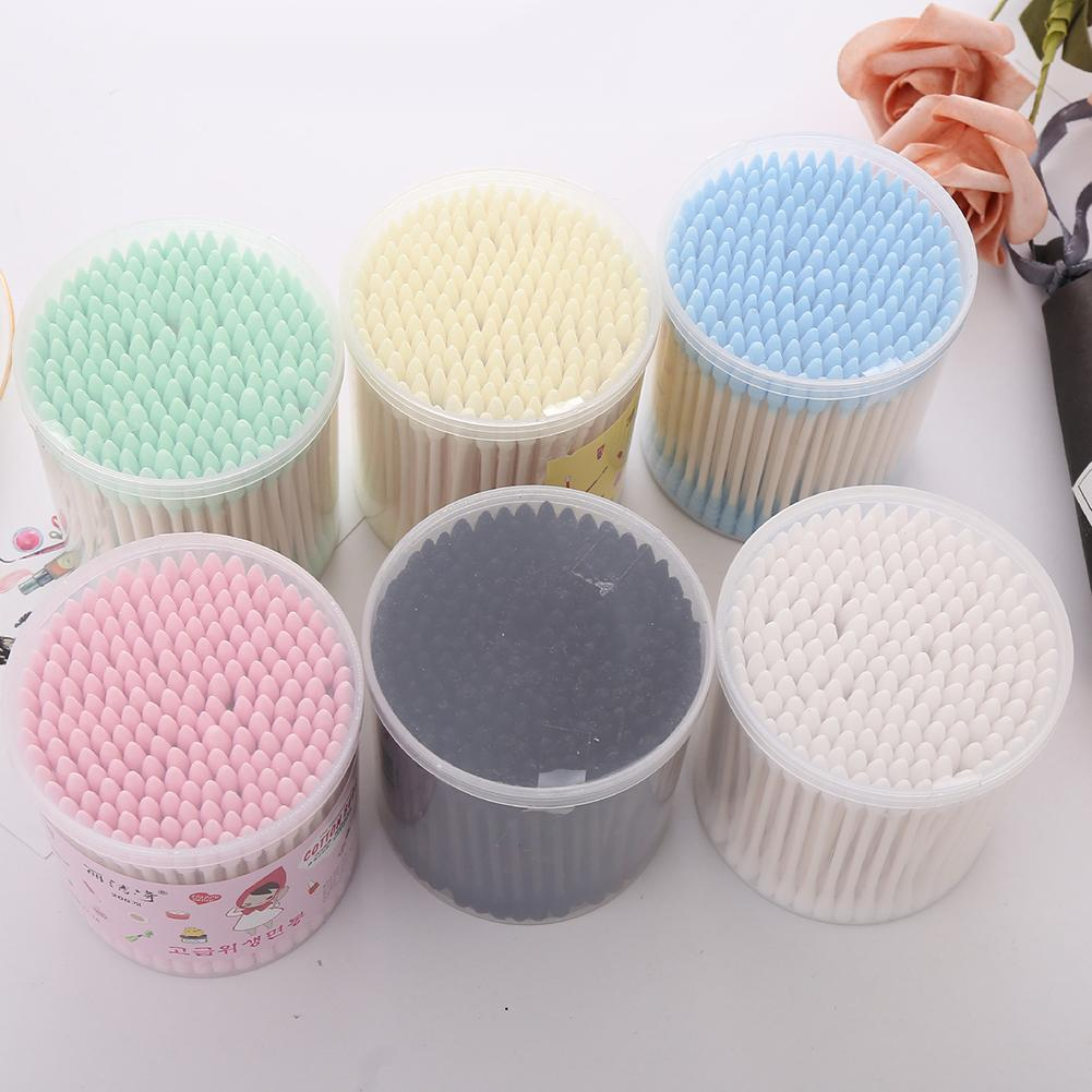 200Pcs Sharp Round Spiral Head Cotton Swabs 12 Colors Women Makeup Cotton Buds Tip  Nose Ears Cleaning Health Care Tools
