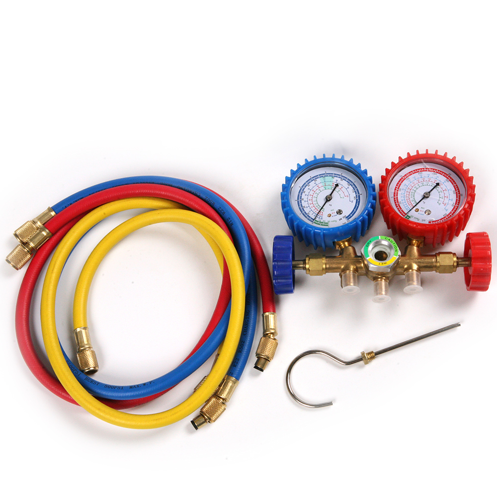 New A Set R134A R12 R22 R502 AC Manifold Gauges Double Valve with 3 Colors Hoses for Household Auto A/C Air Conditioner ToolNew A Set R134A R12 R22 R502 AC Manifold Gauges Double Valve with 3 Colors Hoses for Household Auto A/C Air Conditioner Tool