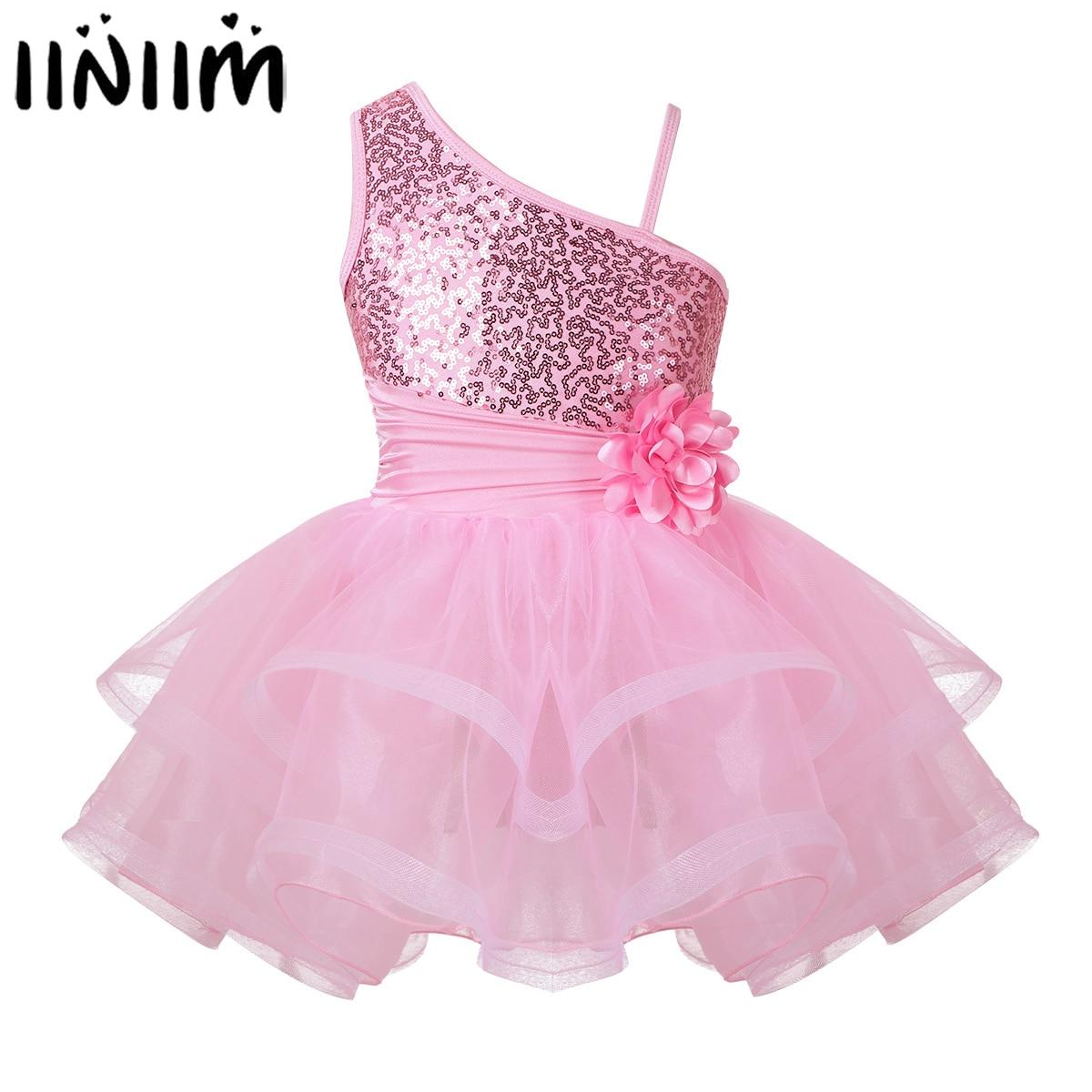 iiniim Kids Girls Ballerina Dance Dress One-Shoulder Sequins Contemporary Dance Costumes Dancewear Gymnastics Leotard Tutu Dress